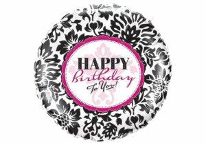 Happy Birthday to you Luftballon schwarz weiß elegant