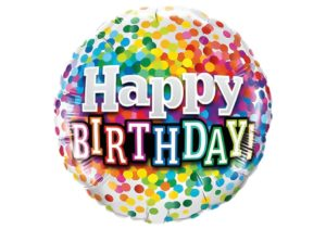 Happy Birthday Luftballon mit bunten Konfetti Punkten