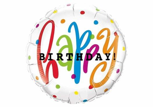 Happy Birthday Luftballon mit kleinen bunten Punkten