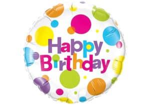 Happy Birthday Luftballon mit bunten Punkten