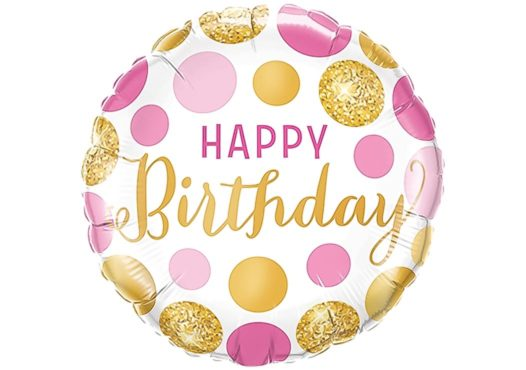 Happy Birthday Luftballon Punkte pink gold