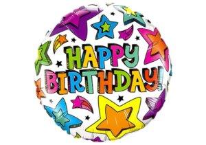 Happy Birthday Luftballon mit bunten Sternen