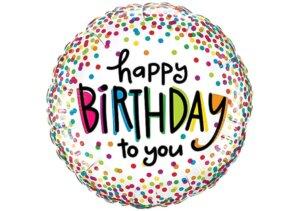 Happy Birthday to you Luftballon bunt mit Konfetti