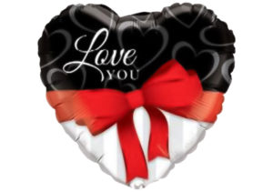 "Herz Luftballon mit roter Schleife ""Love you"""