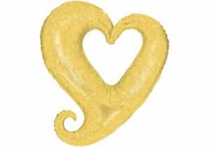 Herz Luftballon glitzer gelb 80 cm