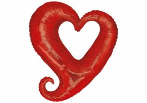 Herz Luftballon Glitzer rot 80 cm