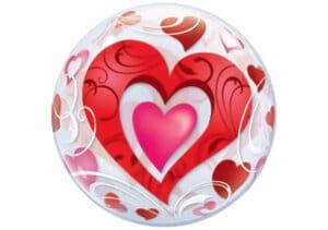 Luftballon mit roten Herzen