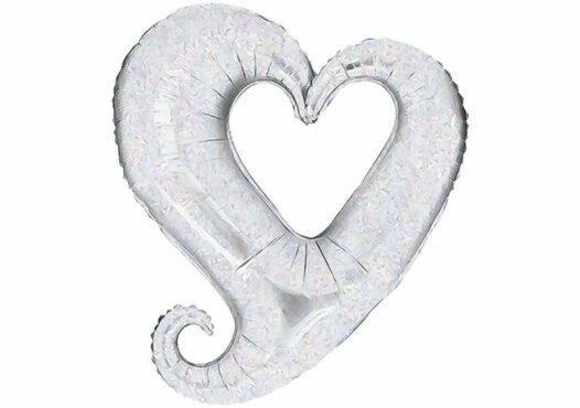 Herz Luftballon Glitzer silber 80 cm