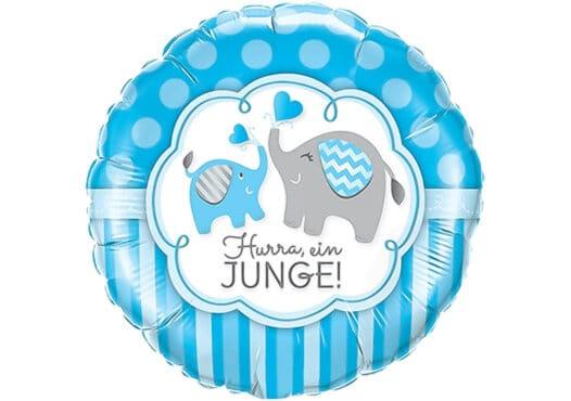 Hurra ein Junge Luftballon mit Elefant blau