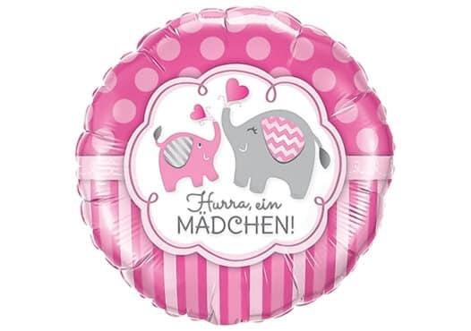 Hurra ein Mädchen Luftballon mit Elefant pink
