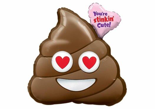 Emoji Kackhaufen Kacke Poo mit Herzen Luftballon