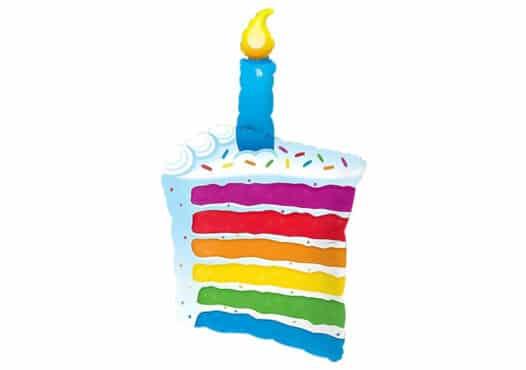 Tortenstück Regenbogen bunt mit Kerze Luftballon