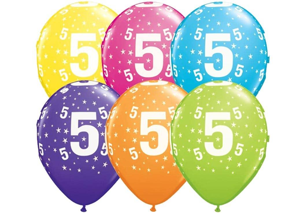 Helium Luftballon Zahl 5 Zum 5 Geburtstag 28 Cm