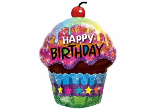 Muffin Happy Birthday Luftballon bunt