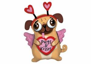 """Mops mit Herzen Luftballon """"Pugs & kisses"""""""