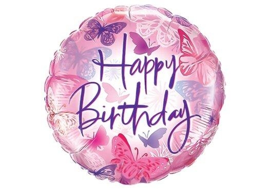Happy Birthday pinker Luftballon mit Schmetterlingen
