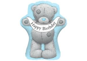 Teddybär Happy Birthday blau Luftballon