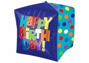 Happy Birthday Luftballon Würfel blau