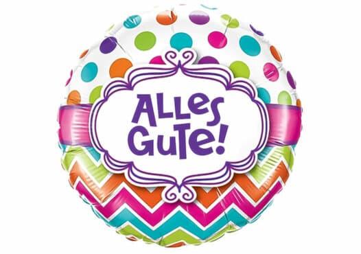 Alles Gute Luftballon mit bunten Punkten und Mustern