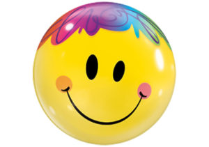 Smiley Luftballon mit bunten Haaren Bubble