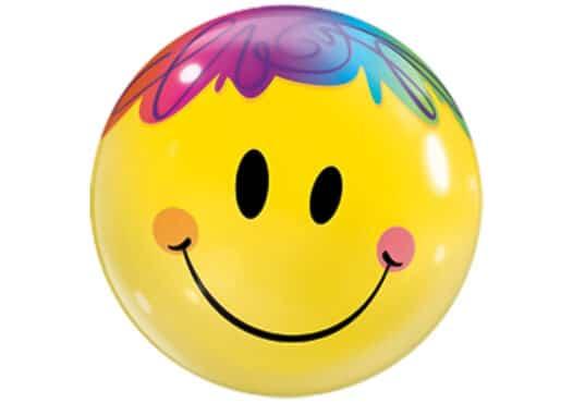 Smiley Luftballon mit bunten Haaren Bubble