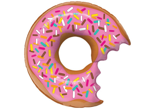 Donut Luftballon angebissen pink mit Streuseln