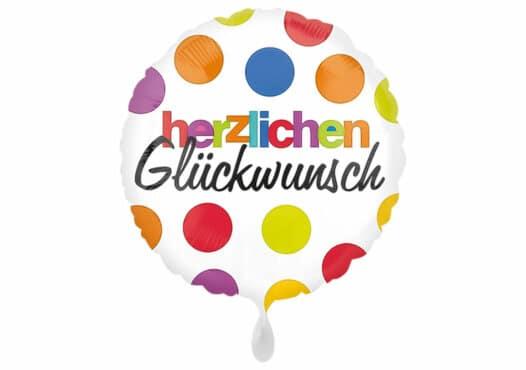 Herzlichen Glückwunsch Luftballon mit bunten Punkten