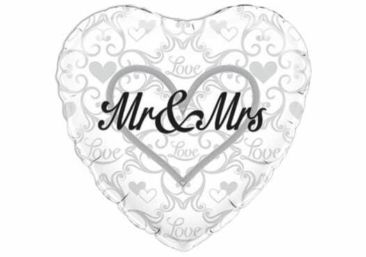 Mr & Mrs Herz Luftballon mit Herz-Ornamenten