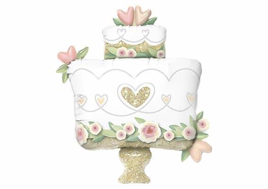 Hochzeitstorte Rosen weiss und gold Luftballon