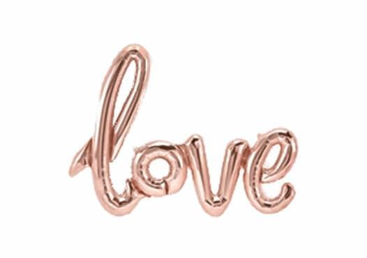 Love Schriftzug rosegold Luftballon