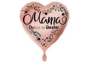 Mama Du bist die Beste Herz Luftballon rosegold