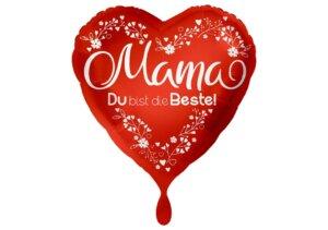 Mama Du bist die Beste Herz Luftballon rot