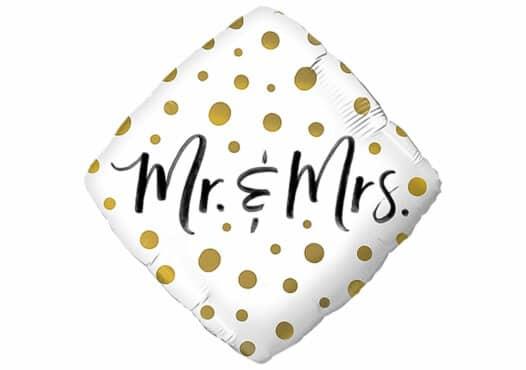 Mr & Mrs goldene Punkte Diamant Luftballon