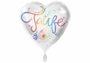 Herz Luftballon zur Taufe bunt