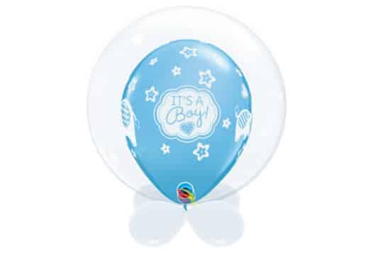 """Bubble-Luftballon klar ohne Druck mit Innenballon in blau """"It's a boy"""" und Unterballons in weiß"""