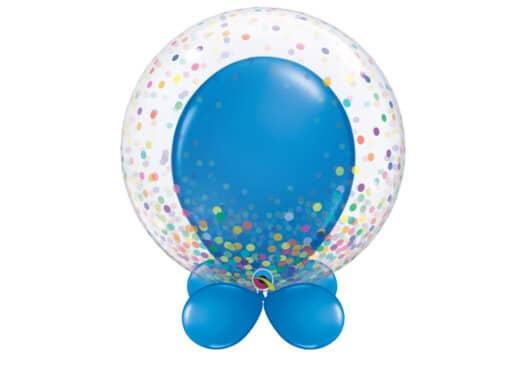 Bubble-Luftballon buntes Konfetti mit Innenballon in blau und Unterballons in blau