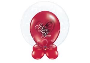 """Bubble-Luftballon Herzen mit Innenballon in rot """"I love you"""" und Unterballons in rot"""