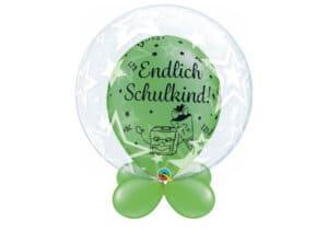 Bubble-Luftballon Sterne mit Innenballon in grün Endlich Schulkind und Unterballons in grün
