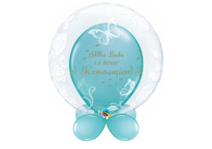 Bubble-Luftballon mit Schmetterlingen und Rosen mit Innenballon in blau Alles Liebe zu Deiner Kommunion und Unterballons in blau