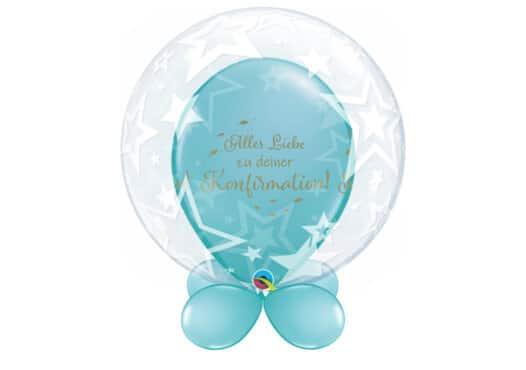 Bubble-Luftballon mit Sternen und Ballons mit Innenballon in blau Alles Liebe zu Deiner Konfirmation und Unterballons in blau